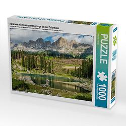 Karersee mit Rosengartengruppe in den Dolomiten Lege-Größe 64 x 48 cm Foto-Puzzle Bild von Sascha Ferrari Puzzle