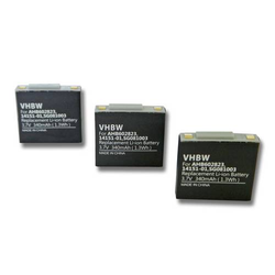 vhbw 3x Akku passend für GN Netcom Jabra GN9125 Mini wireless Headset Kopfhörer (340mAh, 3.7V, Li-Polymer)