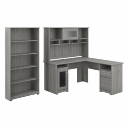 Cabot 60W L Shaped Computer Desk with Hutch and 5 Shelf Bookcase Modern Gray - Bush Furniture