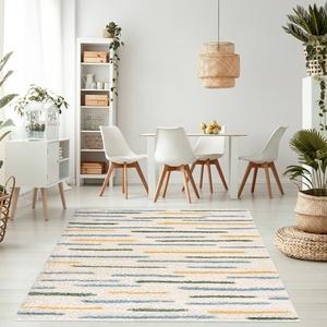 Teppich Wohnzimmer - Hochflor Shaggy - Beige Blau Gelb Grün - Modern Ethno Look