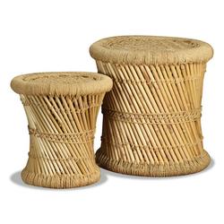 vidaXL Hocker vidaXL Hocker 2 Stk. Bambus und Jute