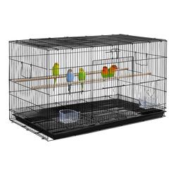 Yaheetech Vogelkäfig, Stapelbarer breiter Vogelkäfig, Flugkäfig mit Sitzstangen für Papageien, Sittiche und andere Vöge, 76 x 45,5 x 45,5 cml