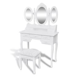 vidaXL Schminktisch vidaXL Schminktisch mit Hocker und 3 Spiegeln Weiß
