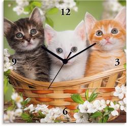 Wanduhr »Katzen sitzen in einem Korb«, Wanduhren, 49956333-0 grün grün