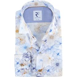 R2 Hemd Blume Blau - Blau Größe 40