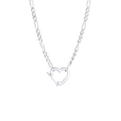 Elli Elli Halskette Figaro Herz Verschluss Verstellbar 925 Silber