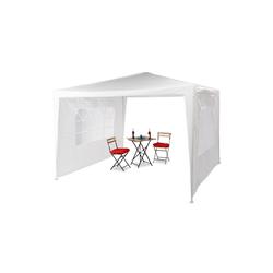 relaxdays Pavillon Pavillon 3x3 m mit 2 Seitenteilen