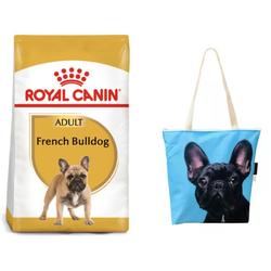 ROYAL CANIN French Bulldog Adult Hundefutter für Französische Bulldoggen 9 kg  + Klassische Einkaufstasche mit dem französischen Bulldogge
