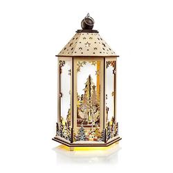JOKA international Laterne LED Holzlaterne Winterwald mit Spieluhr 17487, Laterne Weihnachten mit Spieluhr