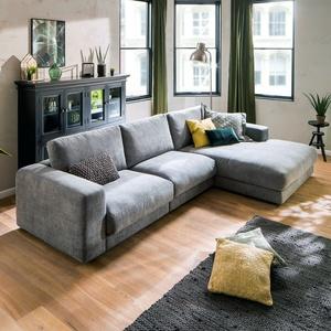 Ecksofa High Loft Eckgarnitur Wohnlandschaft L-sofa In Stoff Stone Grau 330x190