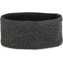 styleBREAKER Stirnband Feinstrick Stirnband mit Strass Feinstrick Stirnband mit Strass grau