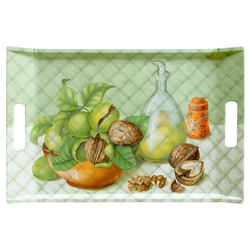 Lashuma Tablett Walnüsse, Melamin, Geschirrtablett mit Griffen, rechteckiges Kaffeetablett grün 47 cm x 31 cm x 3 cm