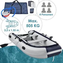 ArtSport Schlauchboot grau - Aluboden - aufblasbar - 4 Personen- 3,20 Meter - 2 Sitzbänke