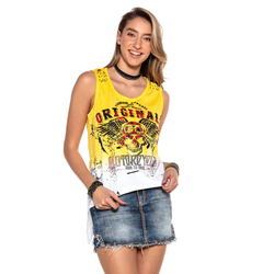 Cipo & Baxx Trägertop, mit coolem Biker-Print gelb Damen Trägertops Tops Trägertop