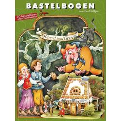 Hänsel und Gretel im Märchenwald Bastelbogen