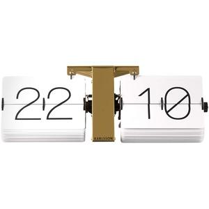 Karlsson Flip Uhr No Case Weiß, Standfuß Messingf, Metall, White, 8.5 x 36 x 14 cm