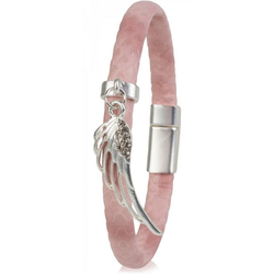 styleBREAKER Armband Schmales Armband mit Flügel und Strass, Schmales Armband mit Flügel und Strass rosa