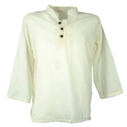 Guru-Shop Hemd & Shirt Yoga Hemd, Goa Hemd - creme natur L