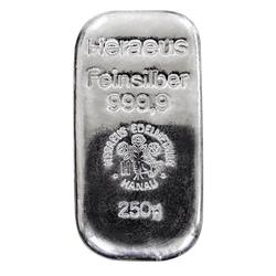 250 g Silberbarren Heraeus gegossen