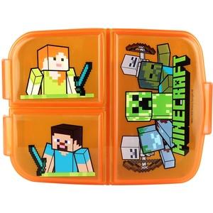 P:os 33168 - Brotdose für Jungen und Mädchen mit Minecraft Motiv und 3 Fächern mit Clip-Verschluss, ca. 14 x 18,5 x 5,5 cm groß, aus Kunststoff, bpa- und phthalatfrei
