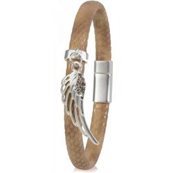styleBREAKER Armband Schmales Armband mit Flügel und Strass, Schmales Armband mit Flügel und Strass braun