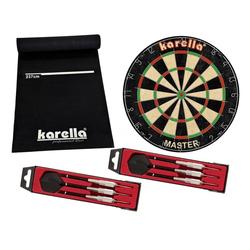 Karella Dartscheibe Dartboard Kerella-Set mit Dartboard, Dartmatte ECO-Star und 2 Dartpfeilsätzen ST-1