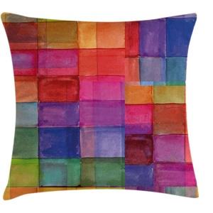 ABAKUHAUS Abstrakt Kissenbezug, Regenbogen-Farben-Quadrate, Kissenbezug Beidseitiges Muster Klarer Digitaldruck Farbfest mit Reißverschluss, 50 x 50 cm, Magenta Blau