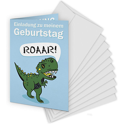 Einladungskarten Dinosaurier, 10 Stück inkl. Umschläge grün