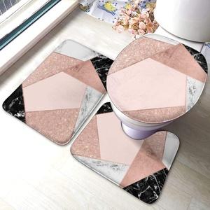 Uliykon Modernes Badezimmermatten-Set, 3-teilig, aus Memory-Schaum, rutschfest, WC-Deckelbezug
