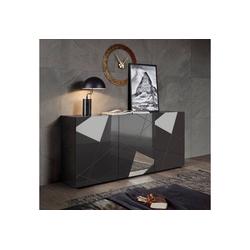 LC Sideboard Vittoria Sideboard, Breite 181 cm, Front mit Siebdruck und Spiegel grau