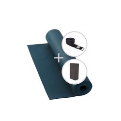 bodhi Yogamatte Yoga Set RISHIKESH Yogamatte mit Block & Gurt blau blau