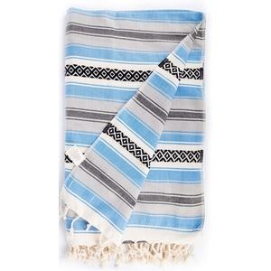 Bersuse 100% Baumwolle - San Jose XXL Strandtuch Sofaüberwurf - Blau, 145 X 235 cm
