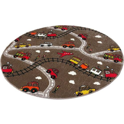 Festival Kinderteppich Momo Straße, rund, 13 mm Höhe, Straßen-Spielteppich, Kurzflor braun Kinder Bunte Kinderteppiche Teppiche