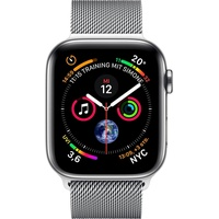 Apple Watch Series 4 (GPS + Cellular) 44mm Edelstahlgehäuse silber mit Milanaise Armband silber