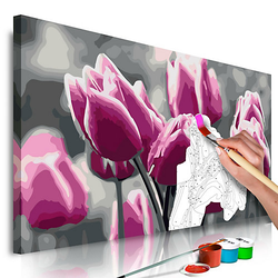 Malen nach Zahlen Tulpenfeld rosa/grau Gr. 60 x 40