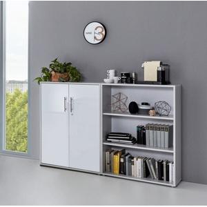 moebel-dich-auf Aktenschrank OFFICE EDITION (Set 1 niedrig, Büro-Set, Büroschrank abschließbar) Made in Germany silberfarben