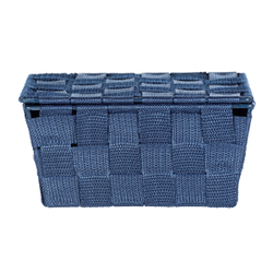 WENKO Adria Aufbewahrungskorb, dunkelblau, Aufbewahrungsbox für das Bad und den gesamten Haushalt, Maße (B x H x T): 19 x 10 x 14 cm, mit Deckel