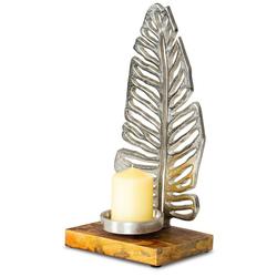Levandeo® Kerzenständer, Kerzenständer 35cm Kerzenhalter Mango Holz Blatt Silber Tischdeko Kerzenleuchter