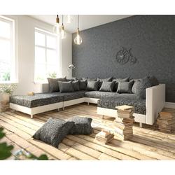 DELIFE Wohnlandschaft Clovis Weiss Schwarz modular mit Hocker, Design Wohnlandschaften, Couch Loft, Modulsofa, modular