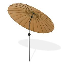 Sonnenschirm Gartenschirm Sonnenschutz Schirm mit Kurbel Tokio rund Ø 2,5m braun