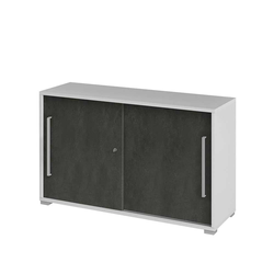 Abschließbarer Büroschrank mit Schiebetüren Weiß Grau