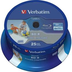 Verbatim 43811 Blu-ray BD-R SL Rohling 25GB 25 St. Spindel Bedruckbar, Antikratzbeschichtung