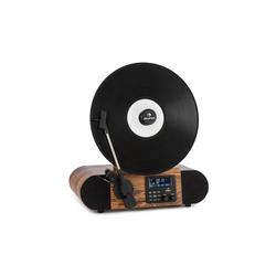 Auna Verticalo SE DAB Retro-Plattenspieler DAB+ UKW-Tuner USB BT AUX holz Plattenspieler (Riemenantrieb, Bluetooth, nostalgischer Plattenspieler mit vertikalem Plattenteller und Riemenantrieb)