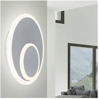 ETC Shop Wandleuchte, LED Innen Wohnraum rund modern Wandlampe Scheibe grau, Metall, 16 Watt 1150 Lumen 3000 Kelvin, D 25,5 cm