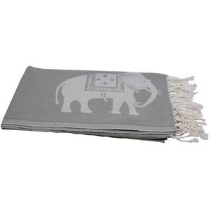 my Hamam Hamamtücher Hamamtuch grau weiß, mit großen Elefanten (1-St), mit Fransen