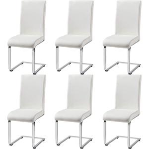 Yaheetech Esszimmerstühle Schwingstuhl 6er Set Küchenstuhl Kunstleder 135 kg belastbar Weiß