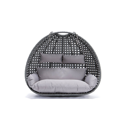 HOME DELUXE Hängesessel Polyrattan Hängesessel TWIN - Korb + Kissen (Set, 2-tlg., Korb und Kissen), gefederte Aufhängung grau
