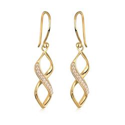 Elli Paar Ohrhänger Infinity Kristalle Spirale Silber goldfarben