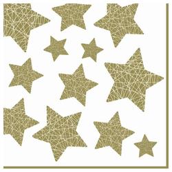 Linoows Papierserviette 20 Servietten Weihnachten glänzende goldene Sterne, Motiv Weihnachten goldene Sterne auf Weiß