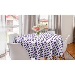 Abakuhaus Tischdecke Kreis Tischdecke Abdeckung für Esszimmer Küche Dekoration, Aubergine Auberginenscheiben Entwurf